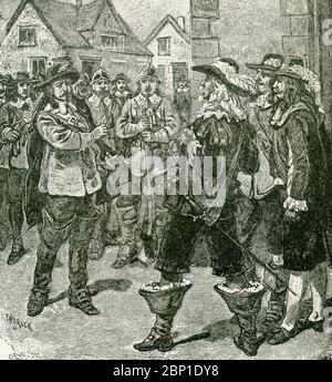 In this 1890s illustration, Governor Sir William Berkeley pardons Nathaniel Bacon but then changes his mind. On June 23, 1676, Nathaniel Bacon returns to Jamestown with 500 men and demands Governor Sir William Berkeley commission him as a general to lead the colony against the Indians. After a standoff, the governor yields to Bacon's demands. Bacon's Rebellion was an armed rebellion that took place 1676-1677 by Virginia settlers led by Nathaniel Bacon against the rule of Governor William Berkeley. - Stock Photo