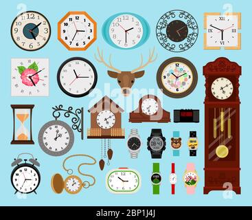 Clocks collection. Analog old and wooden wall clock and digital hands watch, hourglass and electronic stopwatch set vector illustration - Stock Photo