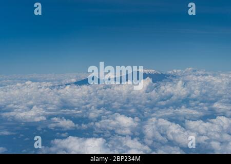 shoot over the clouds from the mount Kilimanjaro in Kenya