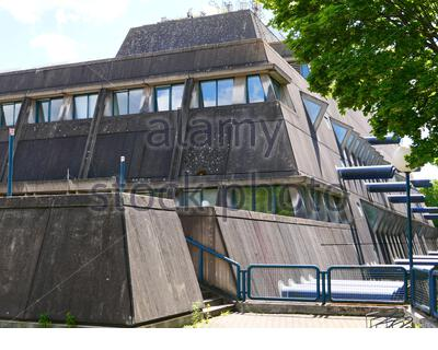Research facility for experimental medicine of the Charite, formerly the Central Animal Laboratories of the Free University of Berlin, called 'Mouse Bunker'.  Built in 1981, an example of the architectural style of Brutalism. Demolition planned. - Stock Photo