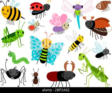 Cartoon insects. Vector cute insect collection, fly and ladybug, mantis and wasp, bug and beetle isolated on white background - Stock Photo