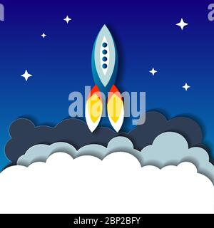 Flat illustration concept of space rocket ship startup on dark background of mountains and starry sky. - Stock Photo