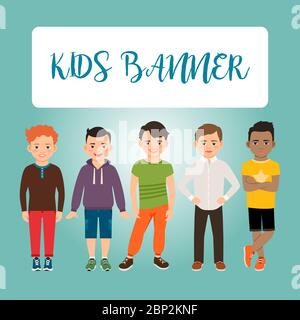 Kids banner with boys on blue background, vector illustration - Stock Photo