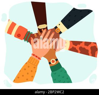 Hands putting together. People group putting hands teamwise, partnership, teamwork, unity and friendship concept isolated vector illustration - Stock Photo