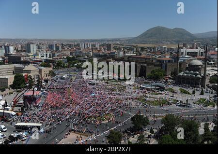 A Political rally for the Turkish President, Recep Tayyip Erdogan in Kayseri, Turkey. - Stock Photo