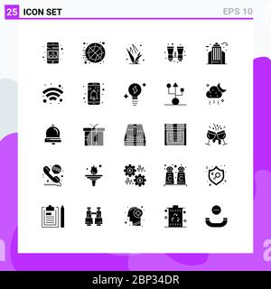 Set of 25 Commercial Solid Glyphs pack for city, search, time, binoculars, spring Editable Vector Design Elements - Stock Photo