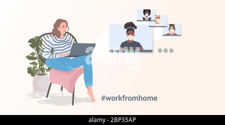 man meeting with mix race coworkers during video call coronavirus quarantine concept people having virtual live conference horizontal vector illustration - Stock Photo