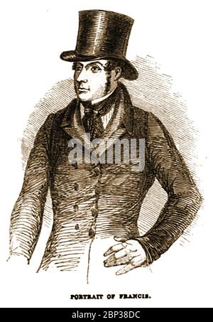 """A portrait of John Francis who in 1842 made two unsuccessful attempts to murder Queen Victoria in her open carriage. Riding down  the Mall, Prince Albert reported seeing """"a little, swarthy, ill-looking rascal"""" point a pistol at them and pulling the trigger which  failed to fire. Albert himself reported it to the police.  The next day plain clothes officers were in the crowd when a shot rang out as the convoy travelled through the parks. John Francis an unemployed carpenter was sentenced to be hanged and beheaded – Queen  Victoria personally commuted his sentence to transportation to Australia. - Stock Photo"""