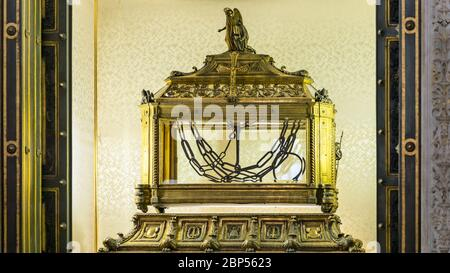 Rome, Italy - August 30, 2014:  Reliquary containing the chains of St. Peter in church of Saint Peter in Chains, San Pietro in Vincoli, in Rome, Italy - Stock Photo