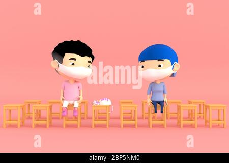 3d illustrator of cartoon characters. Boy and girl Wear a mask And sitting apart to prevent  diseases and viruses - Stock Photo
