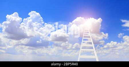Development attainment motivation concept. Ladder in sky as symbol for success. Ladder leading to a cloud. Horizontal banner with clouds and stair in