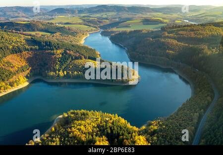 Aerial view, Hennetalsperre, Hennesee, Meschede, Sauerland, North Rhine-Westphalia, Germany - Stock Photo