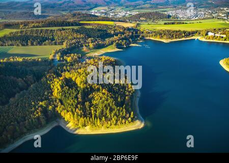 Aerial view, Hennetalsperre, Hennesee, low water on the riverside area, Meschede, Sauerland, North Rhine-Westphalia, Germany - Stock Photo