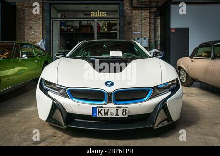 BERLIN - MAY 11, 2019: Plug-in hybrid sports car BMW i8. 32th Berlin-Brandenburg Oldtimer Day. - Stock Photo