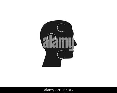 Human head, puzzle icon. Vector illustration, flat design. - Stock Photo