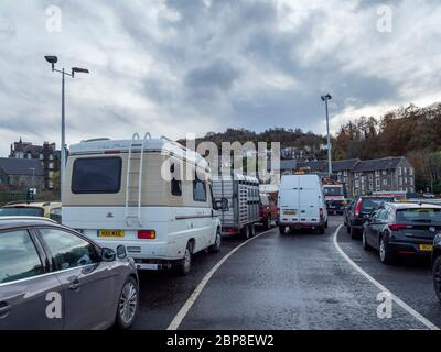 Vehicles waiting for the ferry to Mull, Calmac terminal, Oban, Argyll and Bute, Scotland - Stock Photo