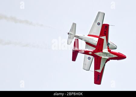 Two Royal Canadian Air Force Snowbirds perform at the September 2018 Airshow London event in London, Ontario, Canada. - Stock Photo