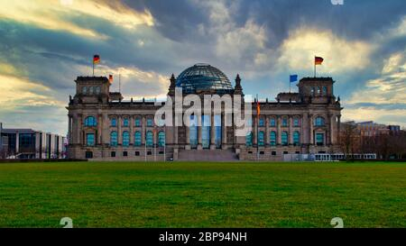 Berlin, Germany - April 10, 2020 - The famous German parliament building 'Reichstag', seat of the German Bundestag - Stock Photo