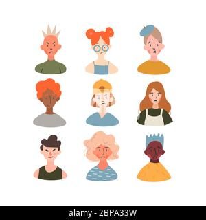 Children of different races profile avatars collection. Icons of girl's and boy's faces icon vector illustration set. Modern cartoon flat design. Onli - Stock Photo