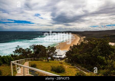 Sugarloaf Point Lighthouse, Seal Rocks, New South Wales, Australia - Stock Photo