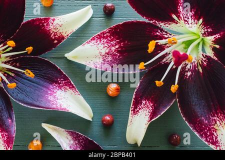 Lillies with Carnelian and Red Jasper on Turquoise Background - Stock Photo