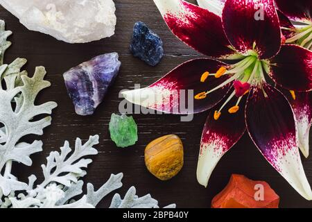 Lillies with Dusty Miller and Rainbow Stones on Brown Background - Stock Photo