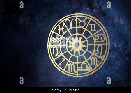 Zodiac signs horoscope circle on dark background. Astrology background.