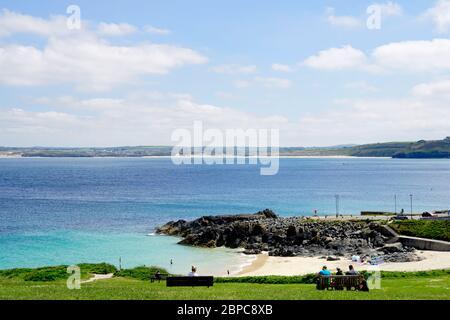 Porthgwidden beach in St. Ives Bay. - Stock Photo