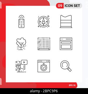 Modern Set of 9 Outlines Pictograph of city, spring, design, nature, apple Editable Vector Design Elements - Stock Photo