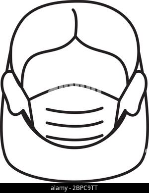 covid 19 coronavirus prevention female face with medical mask vector illustration line style icon