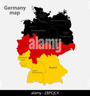 Map of the Germany in the colors of the flag with administrative divisions vector - Stock Photo