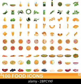 100 food icons set. Cartoon illustration of 100 food icons vector set isolated on white background - Stock Photo