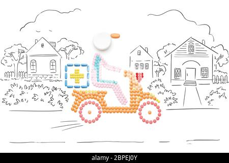 Creative medicine and healthcare concept made of pills, drugs motorbike delivery, on sketchy country background. - Stock Photo