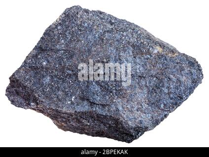 macro shooting of mineral resources - Chromite rock (chromium ore) isolated on white background Stock Photo