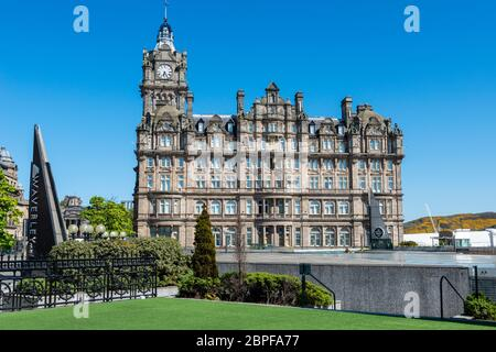 View of Balmoral Hotel from roof of Waverly Mall on Princes Street in Edinburgh, Scotland, UK - Stock Photo
