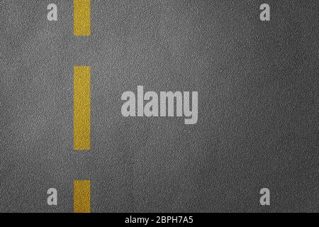 3D Illustration of a road divide with yellow lines pattern and background, textured traffic rules concept