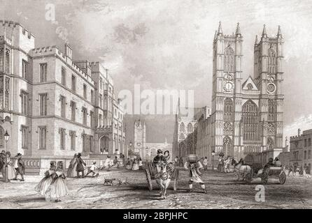 Westminster Hospital and Abbey Church, City of Westminster, London, England, 19th century.  From The History of London: Illustrated by Views in London and Westminster, published c.1838. - Stock Photo