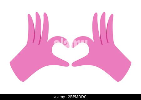 Gloved hands making heart sign isolated on white background - Stock Photo