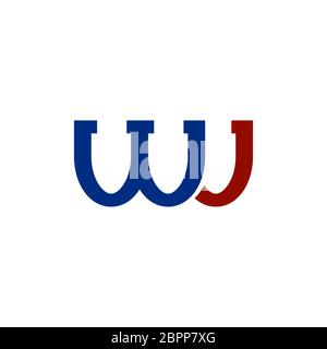 WJ Colored Logo Isolated on White Background. Smle Letters Icon. - Stock Photo
