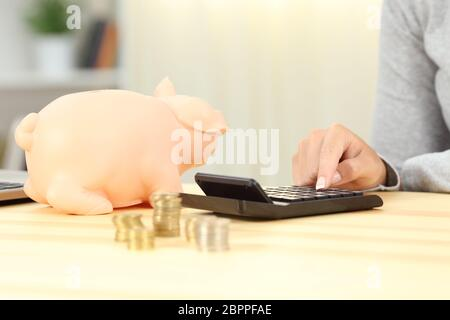 Close up of a woman hands calculating savings at home - Stock Photo