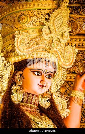 Chandannagar, West Bengal, India - November 16, 2018: Portrait of Hindu Goddess Jagadhatri Idol during Jagadhatri Puja celebration. It is a popular fe - Stock Photo