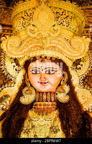 Chandannagar, West Bengal, India - November 16, 2018: Portrait of Hindu Goddess Jagadhatri Idol during Jagadhatri Puja celebration. Close up. Very wel - Stock Photo