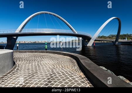 Elizabeth Quay Bridge in Central Perth. - Stock Photo