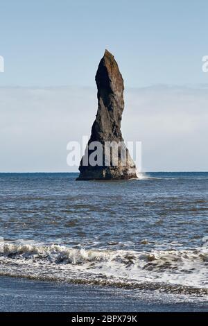 Reynisdrangar stone formation detail at Reynisfjara black sand beach, Iceland - Stock Photo