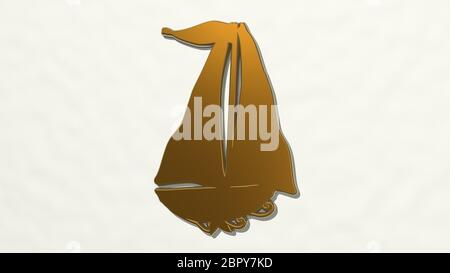 WIND BOAT on the wall. 3D illustration of metallic sculpture over a white background with mild texture