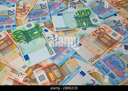 Pile of Different Euro banknotes