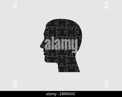 Human head, puzzle icon. Vector illustration, flat design.