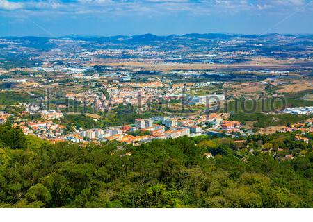 Panorama of Sintra village surrounding seen from The Moorish castle, Portugal - Stock Photo