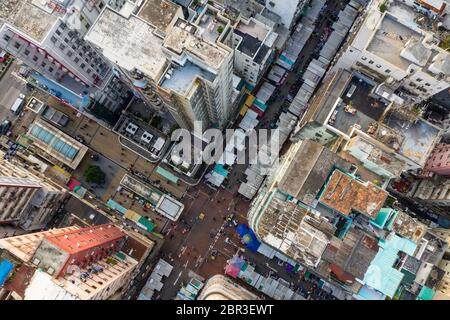 Sham Shui Po, Hong Kong 19 March 2019: Top down view of Hong Kong street market - Stock Photo
