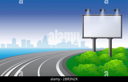 mock up illustration of bill board on road side view Stock Photo